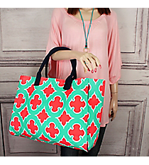 Mint and Coral Moroccan Geometric Wide Tote Bag with Navy Trim #OTP581-NAVY