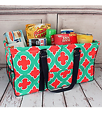 Mint and Coral Moroccan Geometric with Navy Trim Collapsible Haul-It-All Basket with Mesh Pockets #OTP603-NAVY
