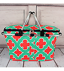 Mint and Coral Moroccan Geometric with Navy Trim Collapsible Insulated Market Basket with Lid #OTP658-NAVY