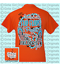 """Flip Flops & Pearls"" Orange T-Shirt *Choose Your Size"