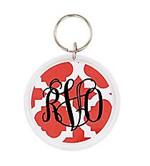 Orange Moroccan Round Acrylic Key Tag #991