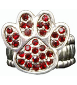 Red Crystal Paw Print Stretch Ring #47900-RED