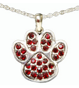 "18"" Red Crystal Paw Print Necklace #47902-RED"