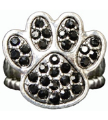Black Crystal Paw Print Stretch Ring #47904-BLACK