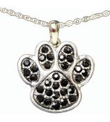 "18"" Black Crystal Paw Print Necklace #47905-BLACK"