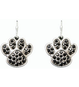 Black Crystal Paw Print Earrings #47906-BLACK