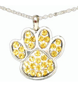 "18"" Yellow Crystal Paw Print Necklace #48005-YE"