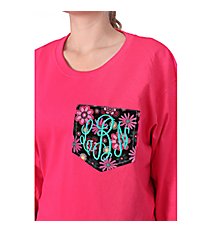Monogrammed Pocket Applique Long Sleeve Relaxed T-Shirt *Customizable!