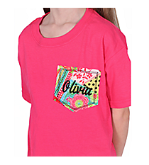 Personalized Pocket Applique Youth Short Sleeve Relaxed T-Shirt *Customizable!
