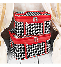 2 Piece Houndstooth with Red Trim Cosmetic Case Set #PBC02-606-R
