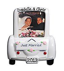 "4"" ""Just Married"" Car Photo Frame Ornament #PF960"