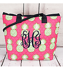 Pineapple Of My Eye Quilted Shoulder Bag with Navy Trim #PIL1515-NAVY