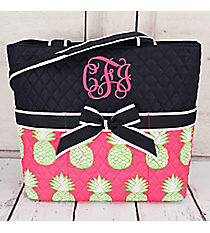 Pineapple Of My Eye Navy Quilted Diaper Bag  #PIL2121-NAVY