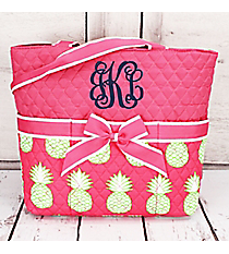 Pineapple Of My Eye Pink Quilted Diaper Bag  #PIL2121-PINK
