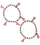 One Pink Ribbon Charm Stretch Bracelet #29085- SHIPS ASSORTED