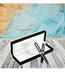 Black and Silver Pen & Pencil Set in Velvet Gift Box #PNST10