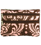 Brown with Pink Damask Travel Pouch #CB2-2012