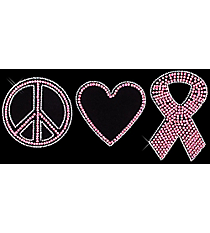 "Dazzling ""Peace, Love, and Hope"" 4.25"" x 9.25"" Rhinestone Applique Iron-On PR03"