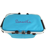 Turquoise Collapsible Insulated Market Basket with Lid #PT658-TURQ
