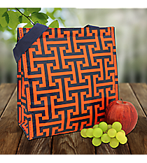 Navy and Orange Puzzled Power Lunch Tote #PU-PL-000203