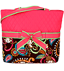 Quilted Monkey Island Diaper Bag with Hot Pink Trim #MON2121-H/PINK