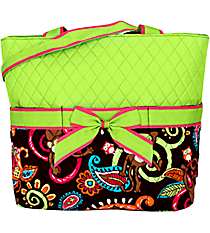 Quilted Monkey Island Diaper Bag with Lime Trim #MON2121-LIME