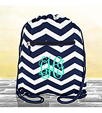 Navy and White Chevron Flat Drawstring Backpack #BP501-165-N/W
