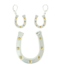 Two-Tone Horseshoe Pendant/Pin and Earring Set #AC0144LF-TT