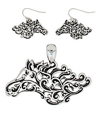 Silvertone Ivy Filigree Horse Pendant and Earring Set #AC1179-AS