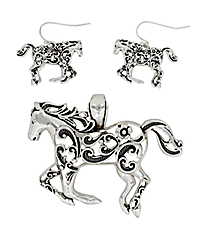 Silvertone Ivy Filigree Galloping Horse Pendant and Earring Set #AC1182-AS