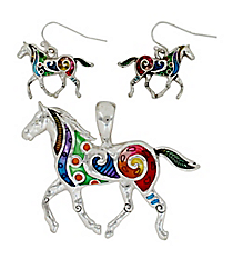 Rainbow Swirl Horse Pendant and Earrings Set #AC1188-ASMX