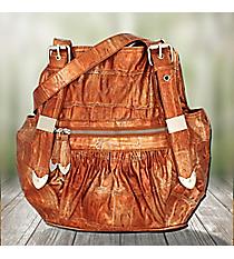 Golden Orange Gathered Leather Buckle Handle Handbag #1490-Q121-TAN