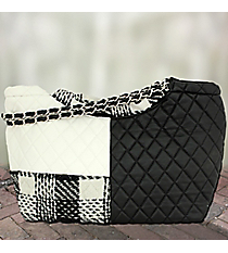 Black and White Quilted Satchel #1458-Q852-BLACK