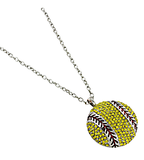 "17"" Large Crystal Softball Pendant Necklace #QN1234-YEL"