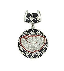 Houndstooth and Crimson Elephant Scarf Pendant #QPD3004-RH