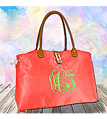 Coral Turn-Lock Weekender Bag #R802-CORAL
