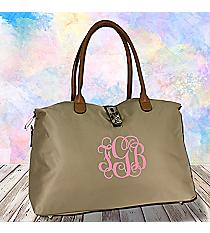 Khaki Turn-Lock Weekender Bag #R802-KHAKI