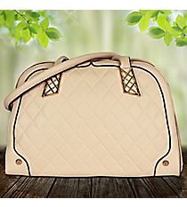 Beige Quilted Leather Bowler Style Bag #RA7016-BG