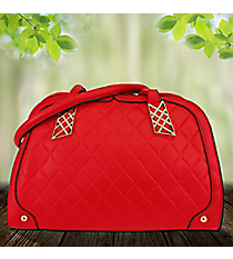 Red Quilted Leather Bowler Style Bag #RA7016-RD
