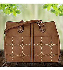Gold Studded Taupe Leather Dual Pocket Satchel #RA7020-TAUPE