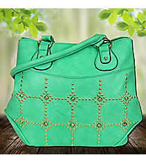 Gold Studded Mint Green Leather Satchel #RA7023-MINTGN