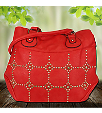 Gold Studded Red Leather Satchel #RA7023-RED