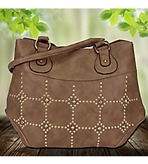Gold Studded Taupe Leather Satchel #RA7023-TAUPE