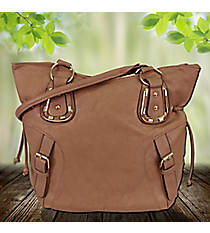 Taupe Buckle Tulip Bag #RA7046-TP
