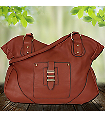 Brown Leather Front Pocket Tulip Bag #RA7047-BW