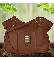 Taupe Leather Front Pocket Tulip Bag #RA7047-TP