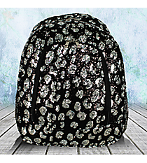 Black and Silver Sequined Large Backpack #REQ403-BLACK