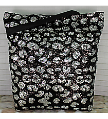 Black and Silver Sequined Shoulder Tote #REQ493-BLACK