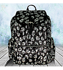 Black and Silver Sequined Backpack #REQ669-BLACK