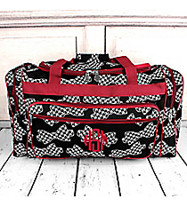 "Houndstooth Bow Ties Duffle Bag with Burgundy Trim 23"" #RHE423-BURGUNDY"